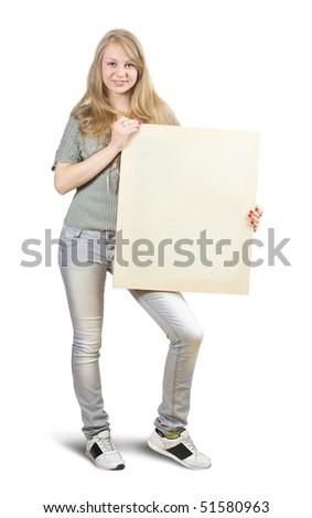 Isolated full length studio shot of blonde holding a banner - stock photo