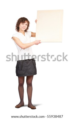 Isolated full length studio shot of girl holding a banner - stock photo