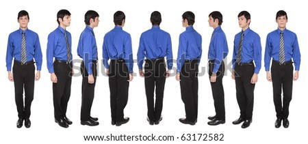 Isolated full length studio shot of the front view of a Caucasian businessman standing with arms at sides and looking at the camera - stock photo
