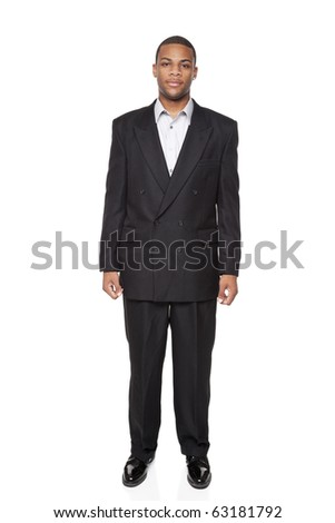 Isolated full length studio shot of the front view of an African American businessman. - stock photo