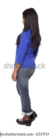 Isolated full length studio shot of the rear view of a Latina woman in a blue shirt and jeans facing away from the camera (part of a 360 rotational series) - stock photo