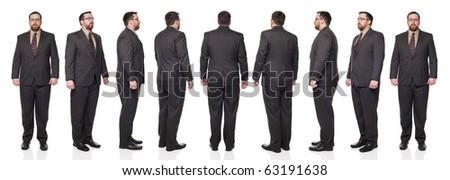 Isolated full length studio shot of the rotation of a businessman in full suit through 360 degrees.