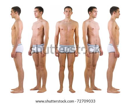 Isolated full length studio shot of young athlete man in underwear - stock photo