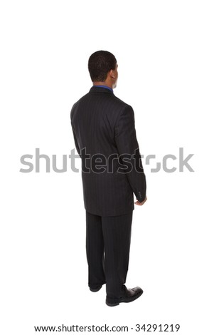 Isolated full length studio shot series of a businessman rotating through 360 degrees. - stock photo