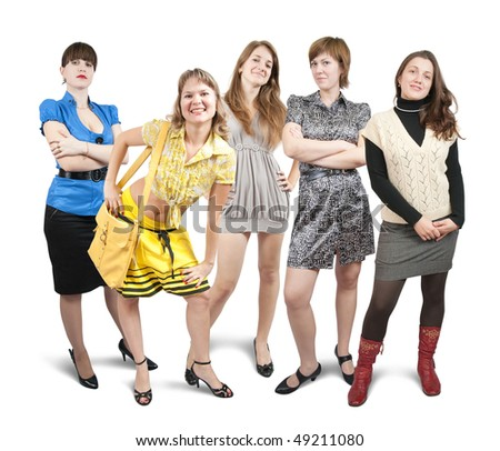 Isolated full length view of casually dressed beauty girls over white - stock photo