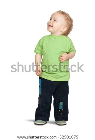 Isolated full length view of 2 years old boy - stock photo