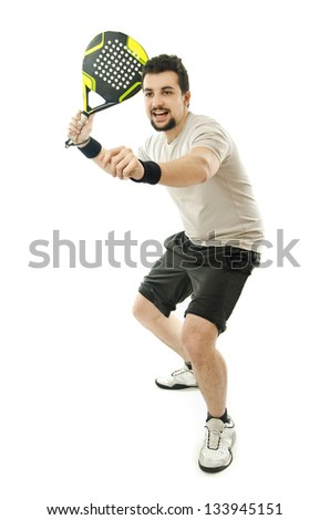 Isolated full paddle player. - stock photo