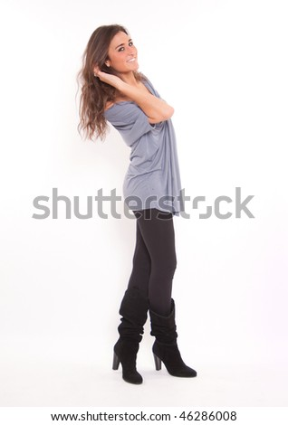 Isolated full portrait of a cute young brunette - stock photo