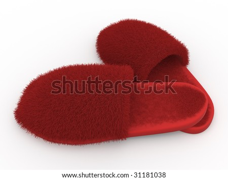 isolated furry soft home slippers on the white background