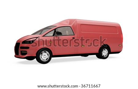 Isolated future cargo van front view over white background