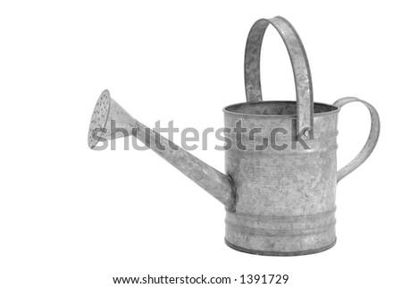 Isolated Galvanized Watering Pot - stock photo