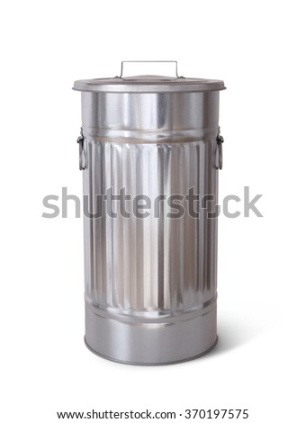 Isolated garbage can with clipping path