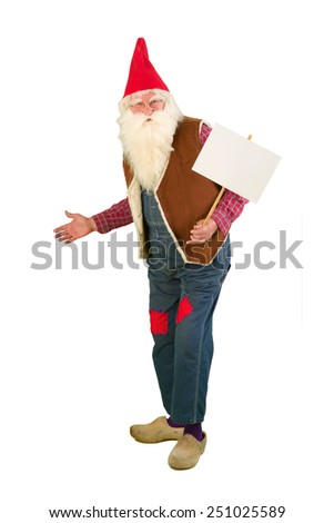 Isolated garden gnome holding an empty text board - stock photo