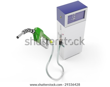 Isolated  Gas Pump and Station - stock photo