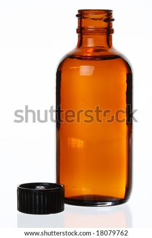 Isolated Generic Brown Glass Bottle, Cap Off, Against White, Bit of Reflection
