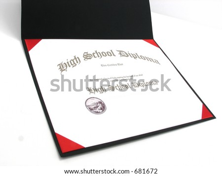 Isolated generic High School Diploma in a small diploma frame - stock photo