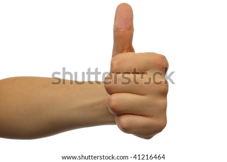 isolated gesturing hand OK - stock photo