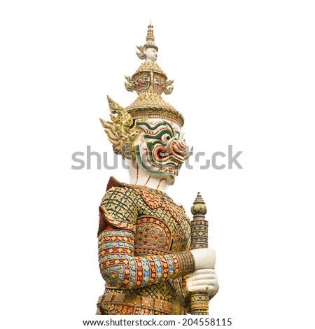 isolated giant statue at wat phra kaew (temple), royal palace, bangkok, thailand - stock photo