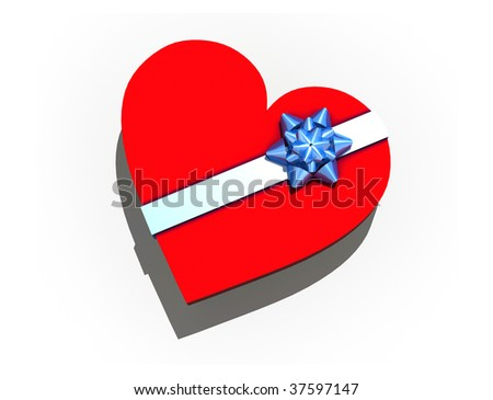 isolated gift box in form heart - 3d render on white