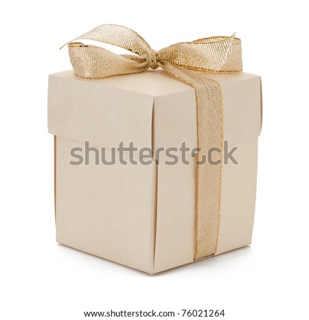 Isolated gift box with golden ribbon on white background - stock photo
