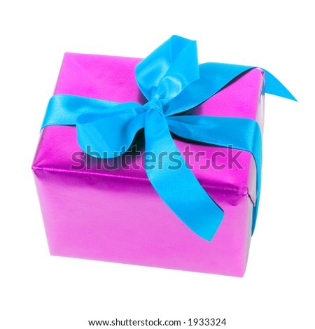 isolated gift - pink paper and blue ribbon
