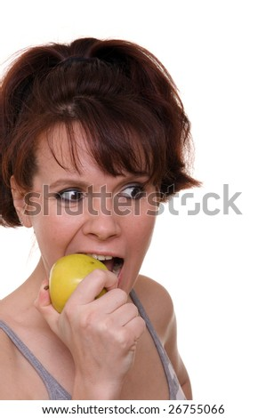 Isolated girl with green apple