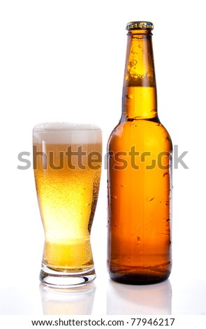 Isolated Glass and Brown bottle of beer on a white background - stock photo