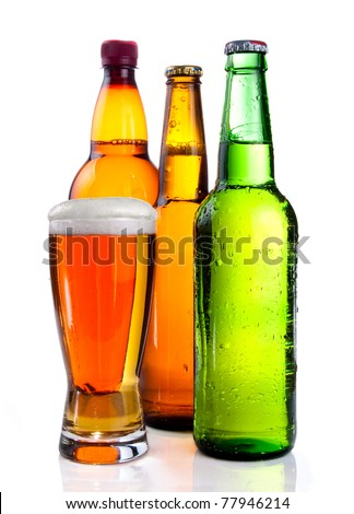 Isolated Glass Beer in plastic bottle and Two glass bottles with beer, brown and green on a white background - stock photo
