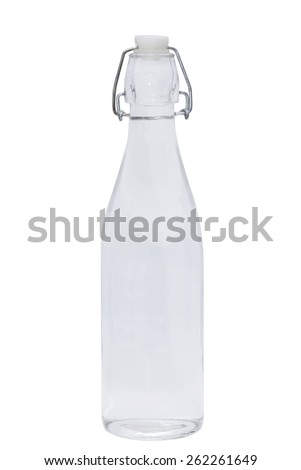 isolated glass bottle of water on white background - stock photo