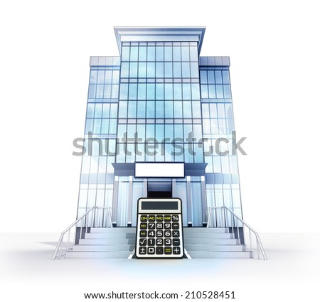 isolated glass building with calculator object concept  illustration
