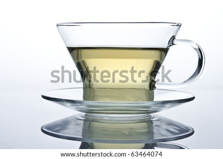isolated glass cup of tea on a gradient background with reflection - stock photo
