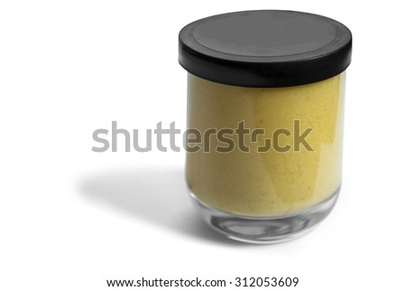 Isolated glass jar of classic mustard without shadows in three quarter view - stock photo