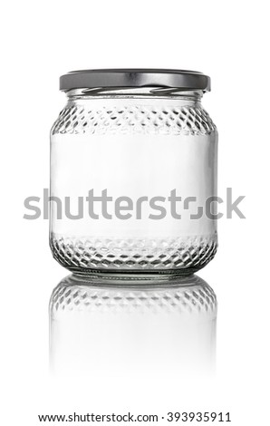 Isolated glass jar on a white background - stock photo