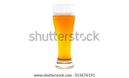 Isolated glass of beer