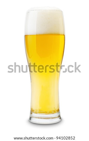 Isolated glass of beer with shadow.