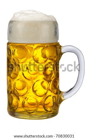 isolated glass of german bavarian beer - stock photo