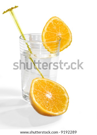 Isolated glass of water with oranges on a white background