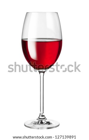 isolated glass with red wine - stock photo
