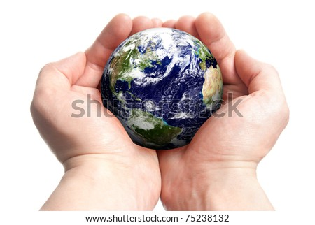 Isolated globe in man's hands