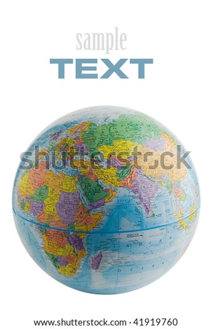 Isolated globe on white background (with sample text) - stock photo