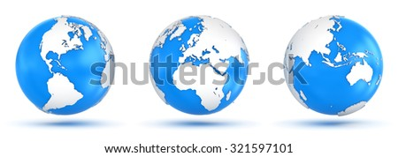 Isolated Globe , This is a computer generated and 3d rendered picture. - stock photo