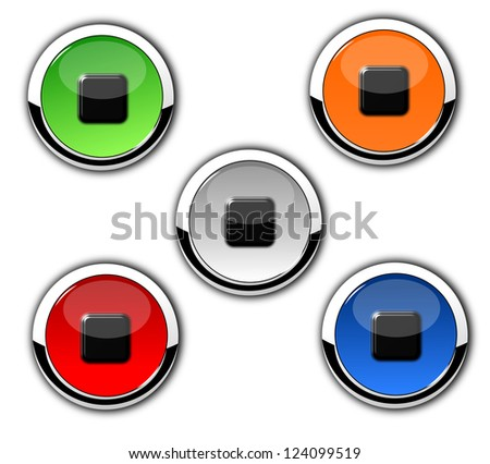 Isolated glossy, player and chrome button on white background. - stock photo
