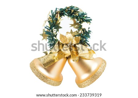 isolated gold bells , use for background - stock photo