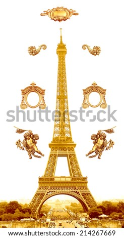 Isolated gold Eiffel Tower in Paris, France - stock photo