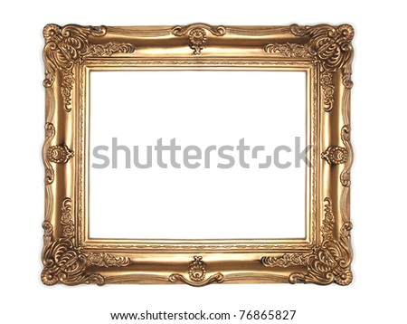 isolated gold frame - stock photo