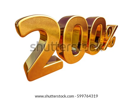 ISOLATED Gold Sale 200%, Golden Percent Off Discount Sign, Sale Promo, Special Offer 200% Off Discount Tag, Golden Two Hundred Percentages Sign, Golden 200%, Total Sale, Luxury, Total Sale, Free 200%