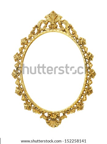 isolated gold vintage metal frame - stock photo