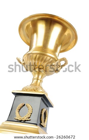 isolated golden cup on the white background