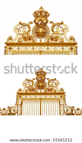 Isolated golden gates to Versailles castle,France. - stock photo