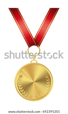 Isolated golden medal on white background. Award with ribbon.